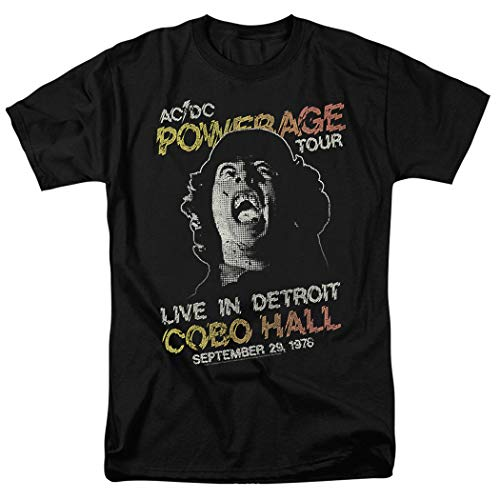 AC/DC Powerage Tour Live in Detroit Sept 1978, Live at Cobo Hall T Shirt & Stickers, S to 5XL