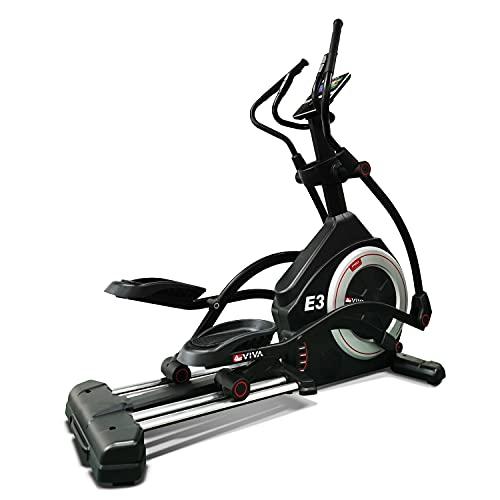 AsVIVA Ellipsentrainer Ergometer E3 Pro, Crosstrainer mit 27kg Schwungmasse, LED Fitnesscomputer, 5-Fach manuell verstellbare Steigung, inklusive Polar Pulsgurt, Ellipsen Ergometer, schwarz