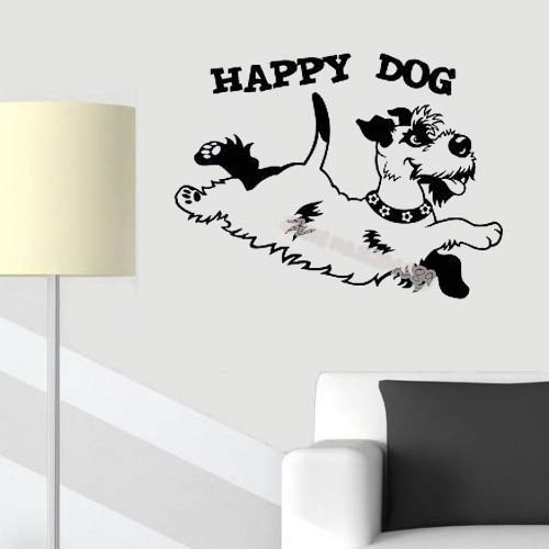 zqyjhkou Happy Dog Quotations Wall Sticker Animal Cute Puppy Pet Playing Home Decor Kids Bedroom Nursery Vinyl Removable Decal 56x42cm
