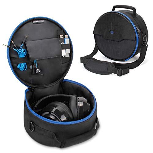 ENHANCE Gaming Kopfhörer Tasche für kabelgeb&ene und Kabellose Bluetooth Wireless Kopfhörer gepolsterter Schutz mit Schultergurt und robustem Tragegriff - Travel Friendly Esports Design - Blau