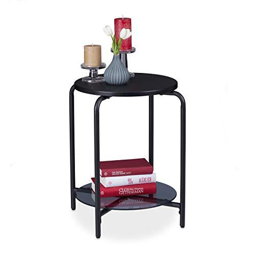Relaxdays Bijzettafel rond, 2 planken, glasplaat, salontafel voor decoratie, telefoon, woonkamertafel, HxD 55 x 50 cm, zwart, metaal, 55 x 50 x 50 cm