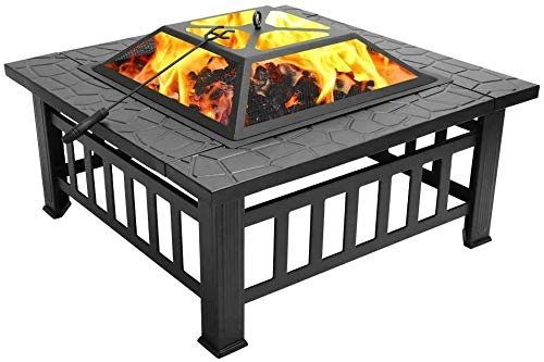 Outdoor Fire Pit 32' Outdoor Square Metal Firepit,Wood Burning Table,Fireplace Garden Stove BBQ Fire Pit Charcoal Rack with Poker & Mesh Cover for Camping Picnic Bonfire Backyard ,32' L x 32' W x 14'H