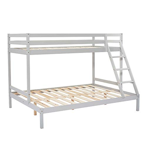 Panana Bunk Bed Frame with Guard Rail, Grey Wooden Triple Bed for Kids, Adults