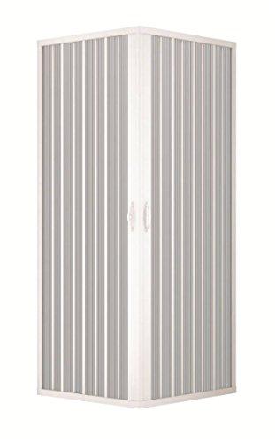 Douchecabine, duschkabinenwand, douchewand, maat: 70x 90x h 185cm, van PVC, hoek- Opening, 2falttüren, wit