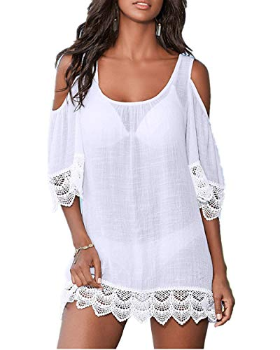 PANAX Schulterfreies Damen Strandkleid - Bikini Kittel Sommer Poncho Shirt-Kleid mit Spitze Weiß
