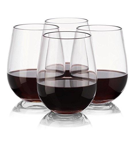 Wisolt Kunststoff-Weingläser, 4 Pcs Unzerbrechliche, Wiederverwendbare, bruchsichere, stielfreie rot-weiße Weinglas-Becher, kristallklar - 16 oz / 450 ml