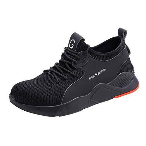 Arbeitsschuhe Herren Damen Sicherheitsschuhe Arbeitsstahlkappen Wandern Sicherheitssneaker Laufen Sneaker Turnschuhe Wanderhalbschuhe, Schwarz, 40 EU
