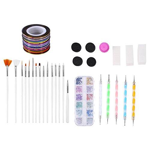 Kit d'outils d'art d'ongle, décoration strass éponge triangle nail art pinceau pointillé stylo ongles timbre fil