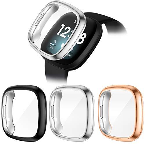 CAVN Protector de Pantalla Compatible con Fitbit Versa 3 / Sense Protector, 3PCS TPU Chapado Versa 3 Funda Protectora Resistente a los arañazos, Carcasa Protectora para Sense
