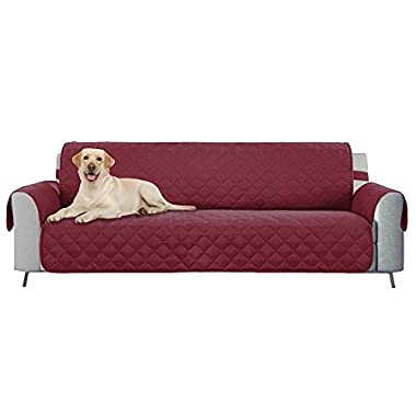 E-Living Store Reversible Sofa/Couch Furniture Protector with 2 Inch Elastic Strap, Machine Washable, Perfect for Pet and Kids, Seat Width Up to 70  - Cranberry