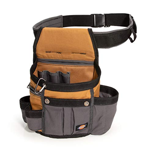 Dickies 8-Pocket Padded Tool Belt Utility Pouch, Adjustable 3-Inch Belt, Durable Canvas Construction, Tan Grey