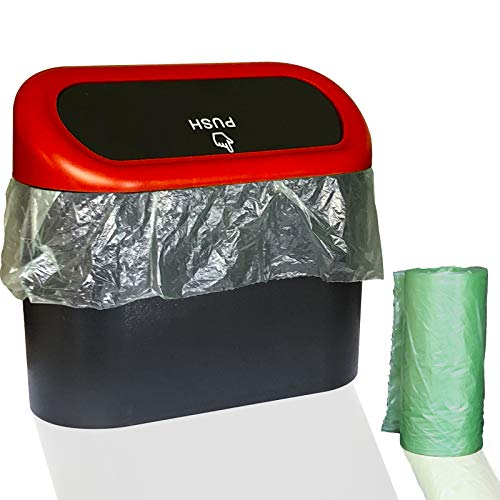 Wontolf Car Trash Can with Lid Car Dustbin Leakproof Vehicle Trash Bin Mini Garbage Bin w/ 30pcs Garbage Bags for Automotive Car Office Kitchen Bedroom Home