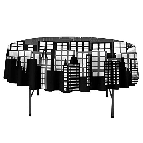 American Decor Cloth Tablecloths USA National Icons Liberty Statue Skyscraper Landscape American Architecture Pattern Table Cloth for Kitchen Room D35 Inch Black White
