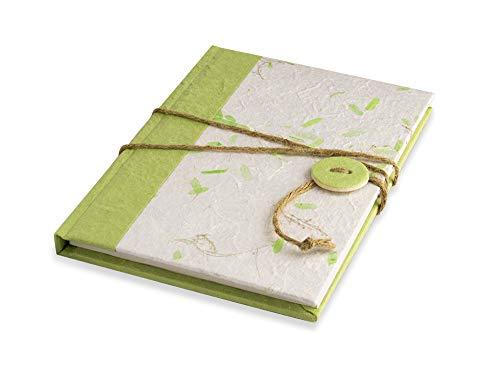 Notebook 15 x 21 cm met bladeren van gerecycled papier en drukknopsluiting