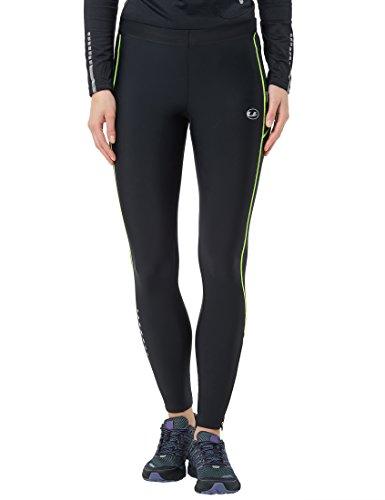 Ultrasport Damen Laufhose mit Kompressionswirkung und Quick-Dry-Funktion Lang, Schwarz/Neon Gelb, XS
