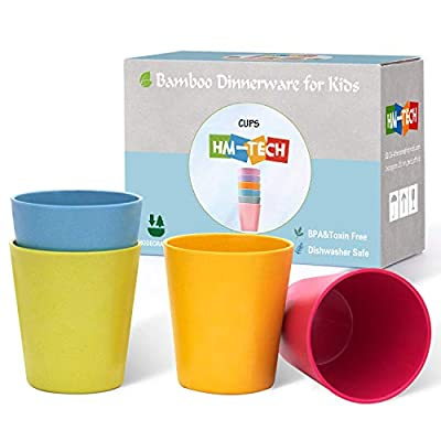 4pcs Bamboo Kids Cups for Baby feeding, Non Toxic & Safe Toddler cups for Drinking?Eco-Friendly Tableware for Baby Toddler Kids Bamboo Kids Dinnerware sets