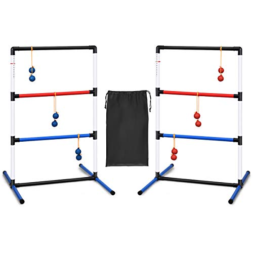 GYMAX Ladder Ball Sets, Ladder Golf Game with Score Trackers and Storage...