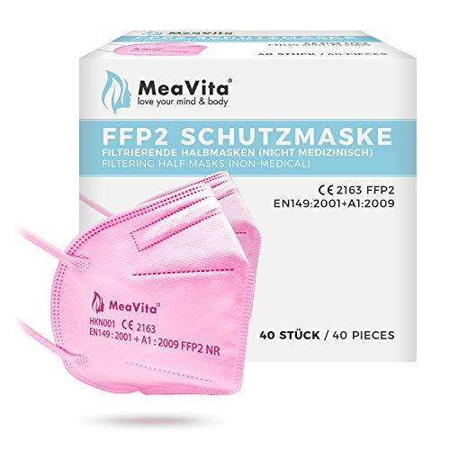 MeaVita FFP2 Maske rosa, EU CE Zertifizierte Mund- und Nasenschutz nach EN149:2001+A1:2009, Atemschutz hohe Filtration, Partikelfiltermaske, Gummizug 40er Pack