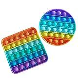 Silicona Sensorial Fidget Juguete, PushPop Bubble Sensory Toy, Stress Relief Toy, Autismo Necesidades Especiales Aliviador Del Antiestrés Del Juguetes Para Niños Adultos Relajarse (Redondo + Cuadrado)