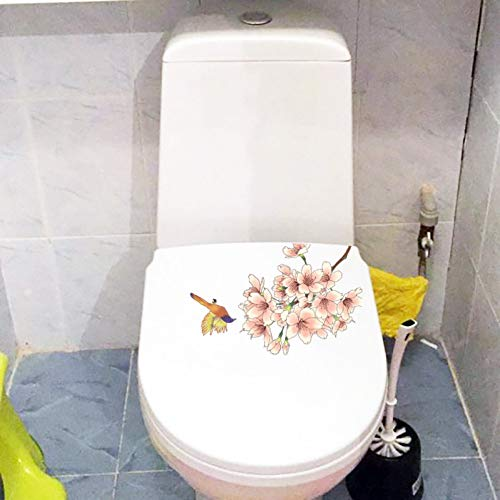 ZPZZPY Muursticker 23.1X15Cm Bloeiende Vogel Klassieke kunst Muurstickers Fotobehang Creatieve Wc Decor Toilet Decal