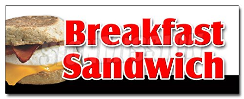 12' Breakfast Sandwich Decal Sticker Sausage Bacon Bagel Croissant Cheese