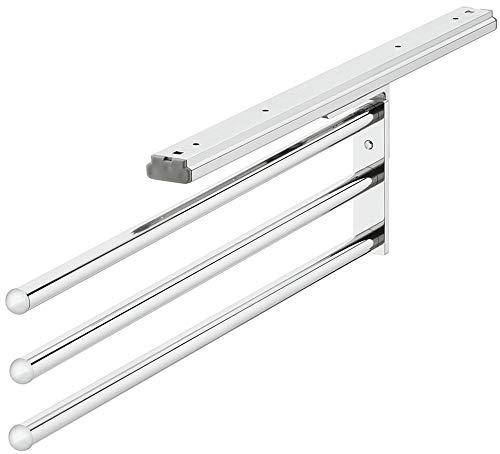 Gedotec Design Handtuchhalter ausziehbar Bad & Küchen-Schrank Handtuchauszug - H6006 | Chrom poliert | Geschirrtuchhalter 3-armig | Länge 465 mm | MADE IN GERMANY | 1 Stück - Handtuch-Reling dreiarmig