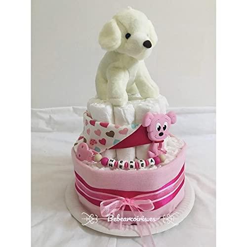 Bebearcoiris.es - Tarta de pañales bebé recien nacido personalizada con chupetero perrito (rosa)