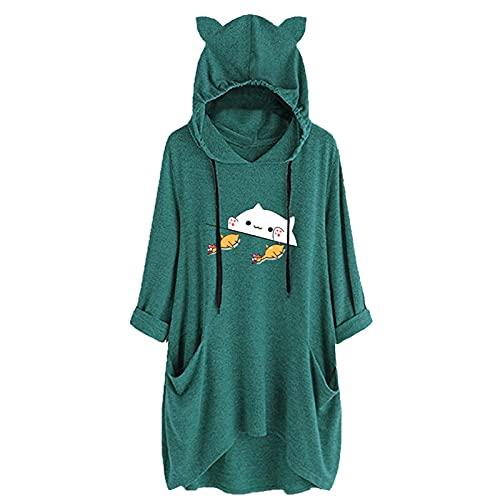Briskorry Sudadera con capucha para mujer de tamaño grande, para invierno, cálida, con bolsillo, con estampado animal, con cordón, Verde-13., L