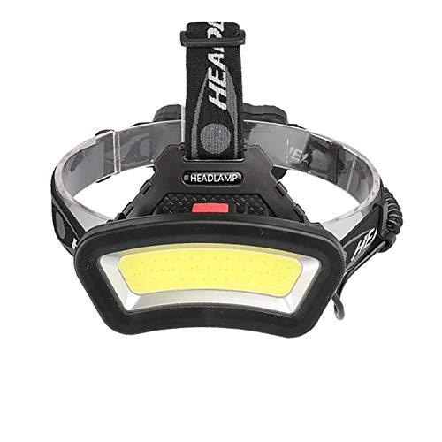 ZHTX LED強力広角COBヘッドライト屋外の赤色光釣りヘッドランプ使用2x18650バッテリーUSB充電式ヘッドランプランタン キャンプランタン (Color : Black)