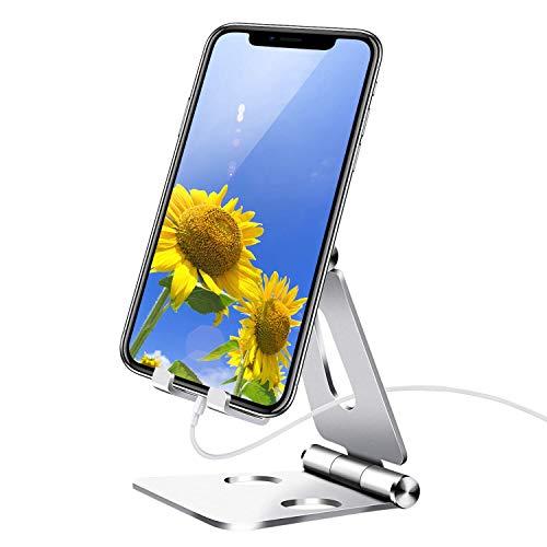 shoplease Soporte móvil,Soporte Teléfono Mesa Aluminio, Soporte movil Mesa ángulo Ajustable,Plegable Soporte para movil para iPhone Android(4-8 pulgado) Plateado