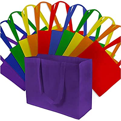 "16x6x12"" 12 Pcs. Large Multi Color Reusable Grocery Bags, Shopping Bags with Handles, Gift Bags, Merchandise Bags, Fabric Tote Bags, Foldable, Strong and Eco Friendly"