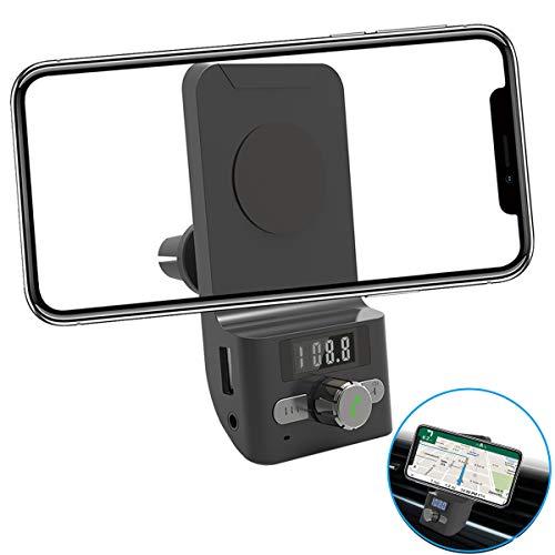 FM Transmitter Auto Bluetooth, AIRENA Freisprecheinrichtung Auto Bluetooth, Handyhalter fürs Auto für iPhone XS/X/8/7/6 Plus Samsung Galaxy S10//S9/S8/S7 Edge Huawei P30/P20/ M20 Pro