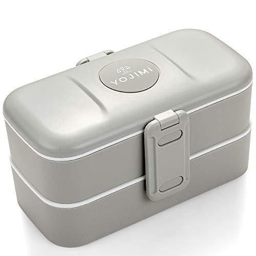 YOJIMI® - Lunch Box Grey Silver - Boite Bento Japonais étanche - 2 compartiment avec 2 separateur et couverts inox - design pour adulte et enfants - sans BPA - Pour le bureau, école, ou picnic.