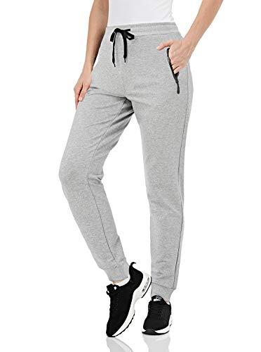 EKLENTSON Damen Casual Frauenhose Trainings-Jogginghose Sweathose mit Reißverschlusstaschen, Hellgrau