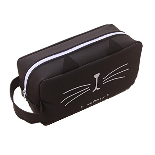 Cat Kitty Zipper Pens Pencil Case Organizer Bag Winzik Funny Silicone Pencil Pouch Box (B)