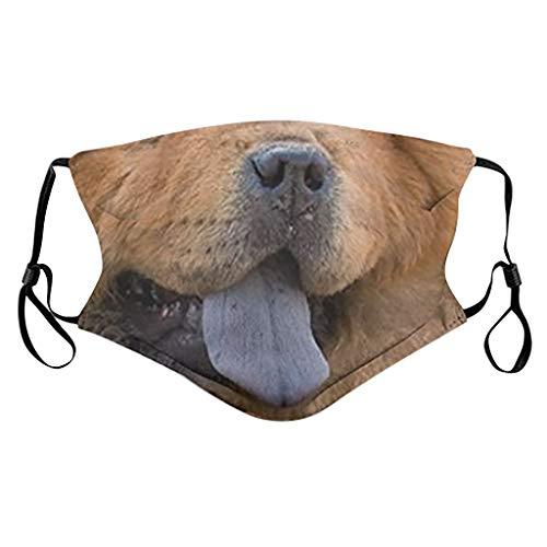 Cerlemi Mundmaske 3D, Waschbar Mundschutz mit Motiv Tier, Mehrweg Atmungsaktiv Stoff Bandana Halstuch Tuch, Mund und Waschbar Mundbedeckung Mund Maske Behelfsmaske Staubmaske (1 Stück, G)