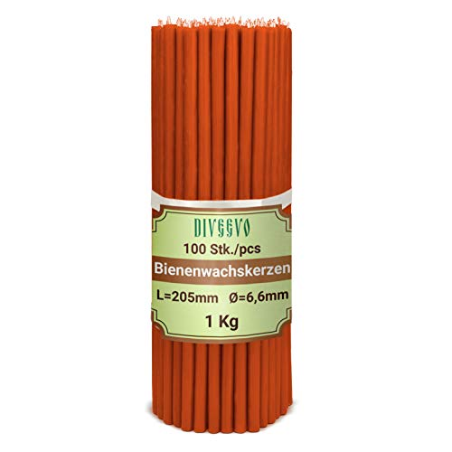 Diveevo Ritual Candles Beeswax Candles Red Pack of 100 L 20.5 cm Diameter 6.6 mm Burn Time 80 Min; Natural, Drip Free, Smokeless Thin Church Quality Made from Beeswax No. 60