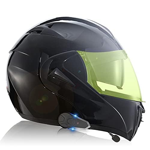 Cascos integrales modulares abatibles con doble visor, casco de motocicleta,casco Bluetooth ECE/DOT sistema de comunicación de intercomunicación integrado con radio FM MP3 incorpor D,L(59~60CM)