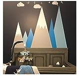 3Dclouds And Birdsnursery Vinilo decorativo Montañas, Vinilo decorativo Vinilo decorativo para habitación infantil, Vinilo decorativo y adhesivo 87 X 53 Cm