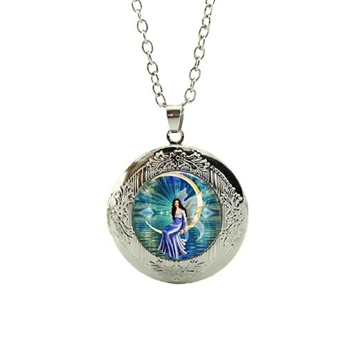 Collar con colgante de hada en azul con diseño de hada y círculo, fantasía, Pixie Colares Feminininos, Ángel para mujer