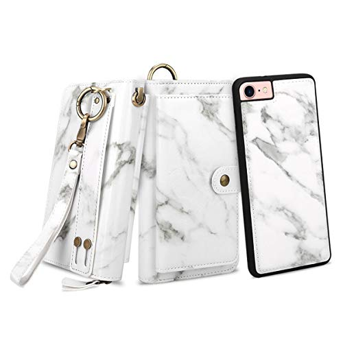 Petocase Compatible iPhone SE 2020/8/7 Wallet Case, Multi-Function Zipper Purse with Detachable Magnetic Back Cover Wristlets 13 Card Slots & 4 Cash Pocket for Apple iPhone 8/7/6s/6 White Marble