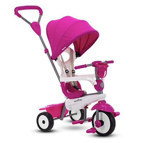 Triciclo para bebé SmarTrike Breeze Plus para niños de uno a tres años - Triciclo Multietapa 4 en 1, Rosa Princesa