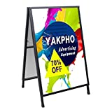 Yakpho Heavy Duty Slide-in Folding A-Frame Sidewalk Sign 24x36 Inch Black Coated Steel Metal Double-Sided Pavement Sign 24x36 inch (Portable,Frame only)