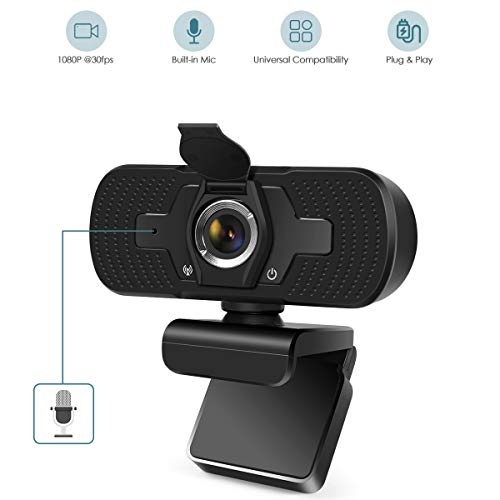 1080P Webcam, Dual Built-in Microphones, Streaming Computer Web Camera, Full HD Video Camera for...