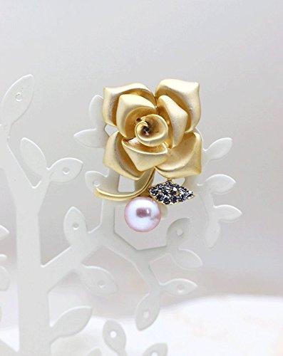 『つやたま【最高級】大粒11-12mm 本真珠 薔薇 パール ブローチ ピンクパープルカラー』の3枚目の画像