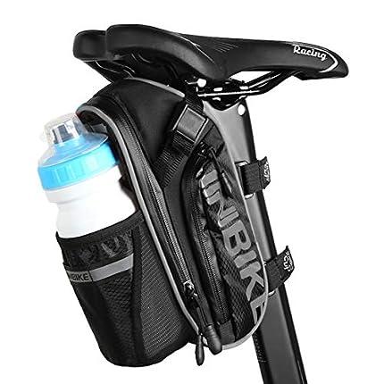 Bolsas para Sillines de Bicicletas, Accesorios de Bicicleta de Montaña Bolsa de Poliéster, Bolsillo para Botella de Bicicleta de 1.2L y Material Especial Reflectante para Bicicletas Bolsa (Gris negro)