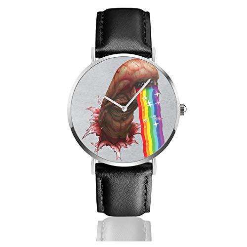 Unisex Business Casual Alien Chestburster Puking Rainbow Snapchat Filter Uhren Quarz Leder Armbanduhr mit schwarzem Lederband für Männer Frauen Junge Kollektion Geschenk