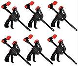 KAHEIGN 6 Piezas Abrazaderas de Agarre Rápido, 4 Pulgadas Abrazaderas de Barra de Trinquete Herramientas de Sujeción de Barra de Liberación Rápida con Una Mano para Madera Sujeción Rápida Y Fácil