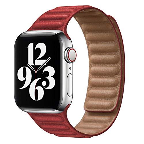Cinturino in pelle per cinturini per orologi Apple 44mm 40mm 38mm 42mmbraccialetti 5 4 3 6 SE-Rosso, 42mm o 44mm
