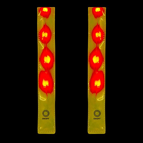 Time To Run Twin Pack High Visibility Reflective LED Safety Running, Cycling & Walking Armband Pack of Two